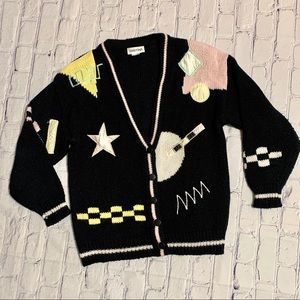 Vintage 80's abstract geometric cardigan sweater
